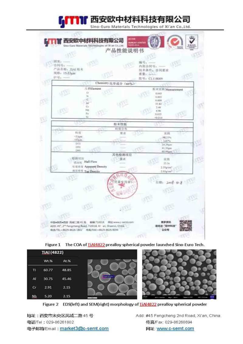 TiAl4822 Prealloy Spherical Powder